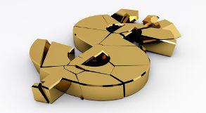 Cifrão dourado quebrado representa crise econômica.