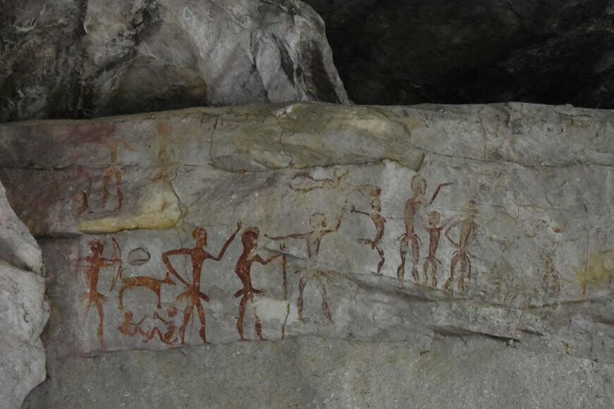 Pintura rupestre realizada na parede de uma caverna localizada na Tailândia.