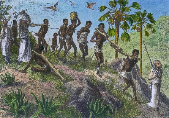 Pintura retratando a captura de africanos escravizados