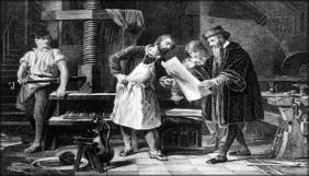 Gutenberg manuseia um panfleto impresso em tipos móveis