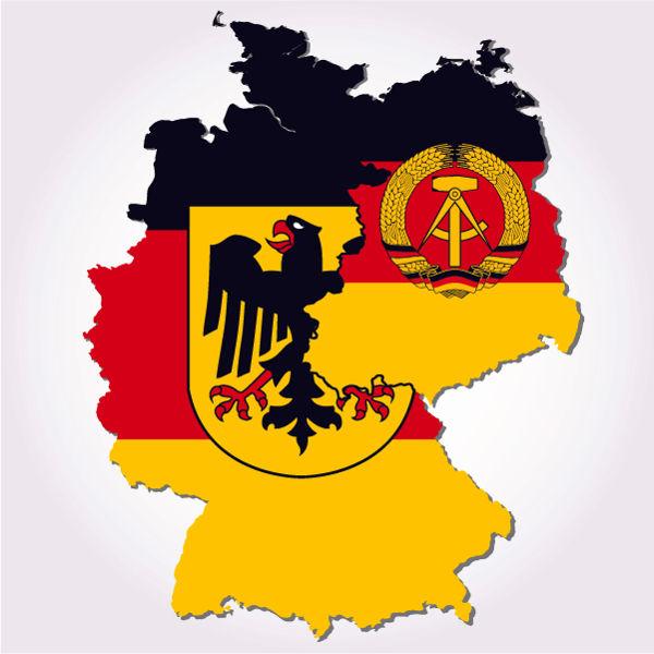 Mapa que mostra os territórios das duas Alemanhas durante a Guerra Fria. À esquerda, está a RFA; à direita, a RDA.