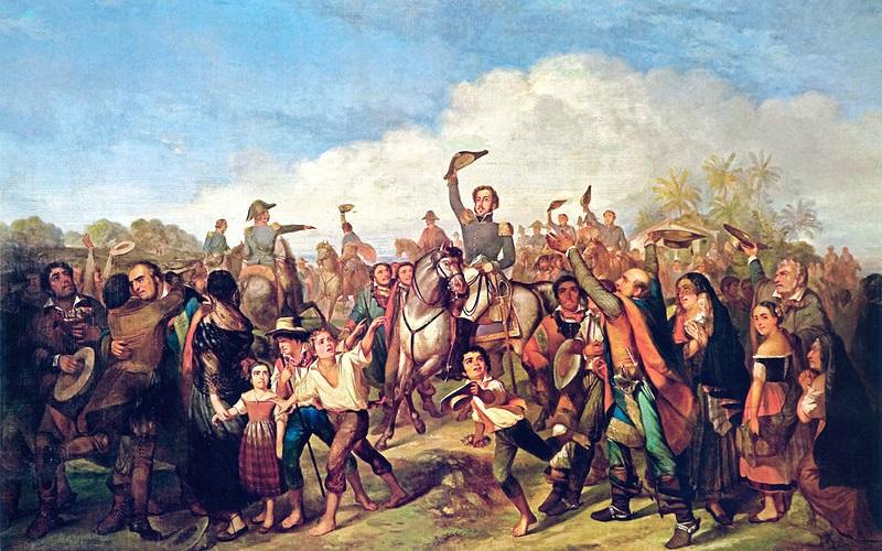 Pintura de François-René Moreau retrata d. Pedro declarando a independência em meio aos populares.[1]
