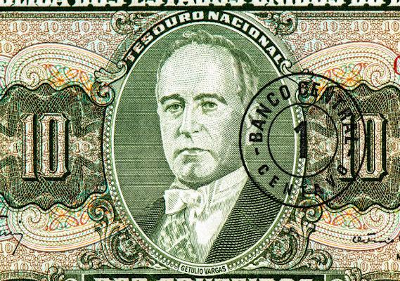 Getúlio Vargas estampado em uma nota de dinheiro