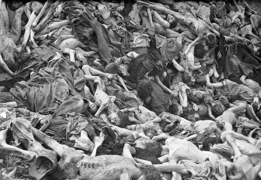 """""""IMAGEM FORTE"""" Os horrores do Holocausto convenceram alguns militares alemães a derrubarem Hitler para interromper o genocídio.[2]"""
