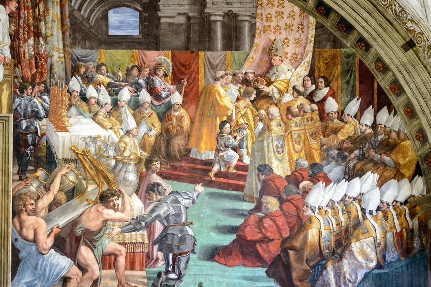 Coroação de Carlos Magno como rei dos francos no século VII. [2]