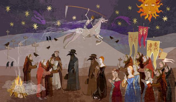 A morte no cavalo ao fundo da pintura mostra o caráter universal da morte no contexto da pandemia de peste negra.