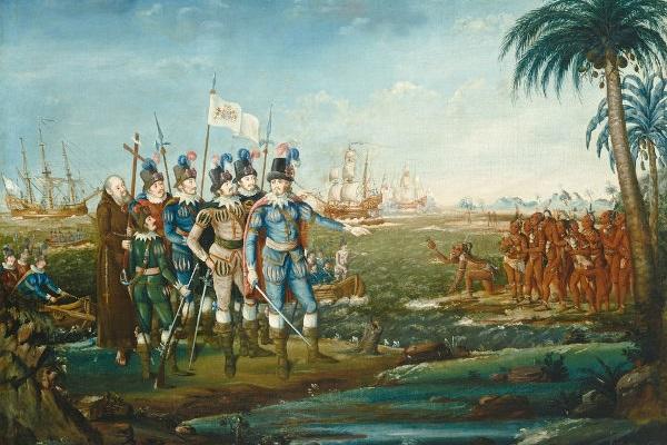 Em 12 de outubro de 1492, a expedição de Colombo chegou a Guanahani, ilha localizada no Caribe.