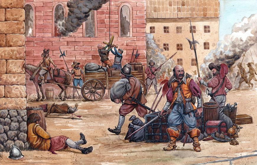 A Guerra dos Trinta Anos foi muito violenta, e os mercenários contratados constantemente saqueavam e dizimavam as populações locais.