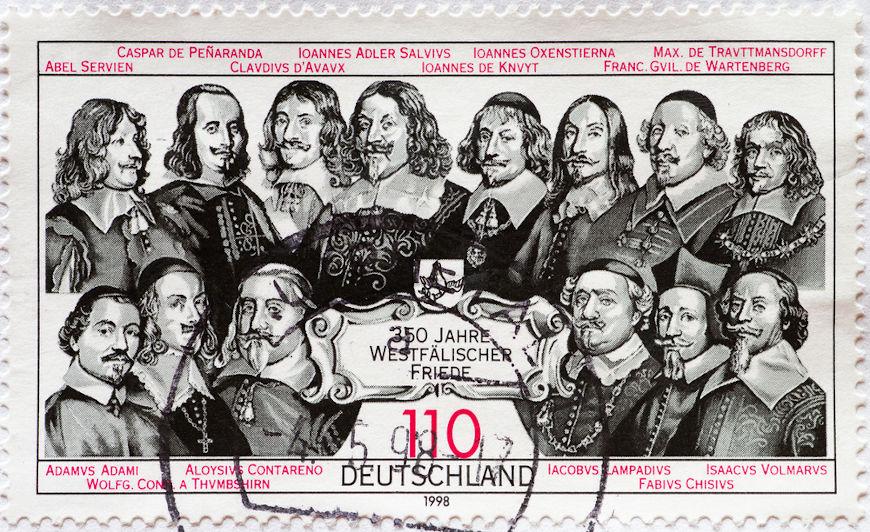 A Paz de Vestfália foi assinada em 1648, provocou profundas transformações na Europa e colocou fim na Guerra dos Trinta Anos.[2]