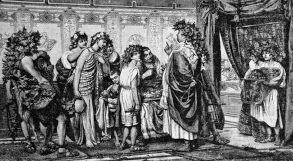 Desenho representando cidadão romano e seus escravos
