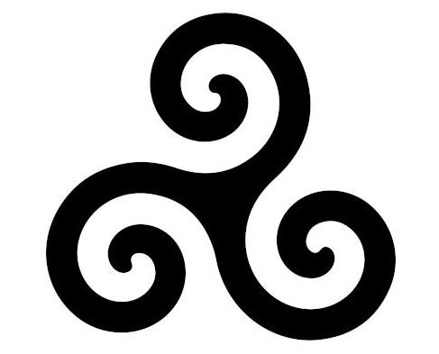 Tríscele, símbolo que representava três estágios de uma pessoa: vida, morte e renascimento. Foi ressignificado pelos cristãos.