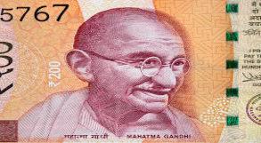 Mahatma Gandhi estampado em nota de dinheiro