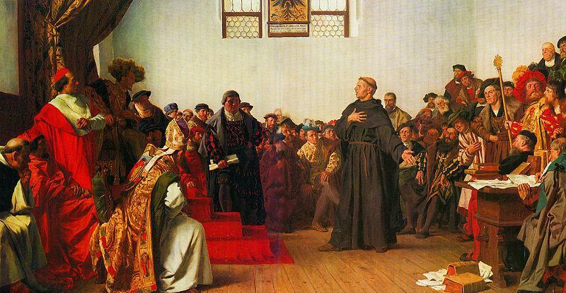 Martinho Lutero tendo que se explicar na Dieta de Worms sobre os seus escritos. Ele confirmou tudo que escrevera e foi considerado um herege.