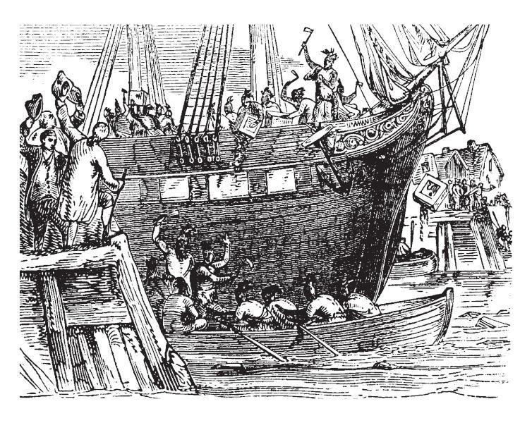 Os colonos manifestaram sua insatisfação com as leis inglesas ao invadirem o porto de Boston para destruírem caixas de chá.