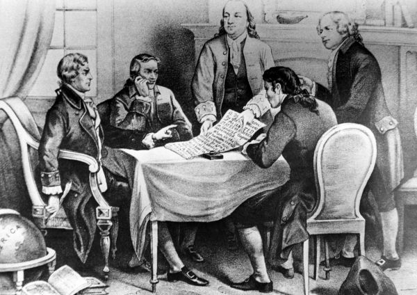 A declaração de independência dos Estados Unidos foi emitida durante o Segundo Congresso Continental da Filadélfia.