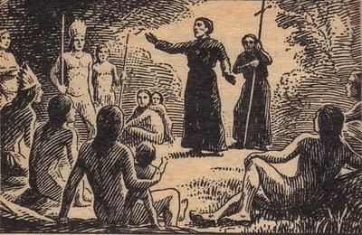 Padres jesuítas ensinando nativos