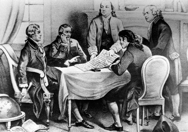 Desenho de homens sentados com documento para Independência dos EUA