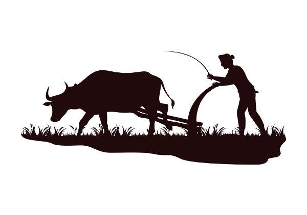 ilustração arando a terra