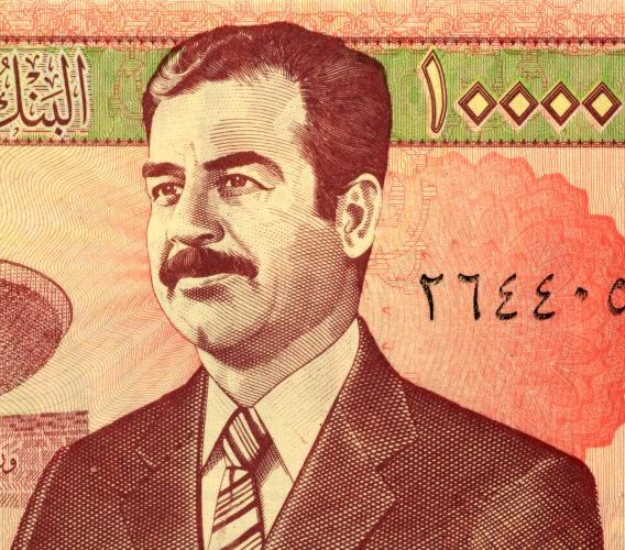 Saddam Hussein, governante do Iraque durante o período da Guerra Irã-Iraque.