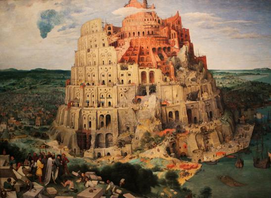 """""""Torre de Babel"""", quadro produzido pelo pintor renascentista Pieter Bruegel quando esteve em Roma em 1563"""