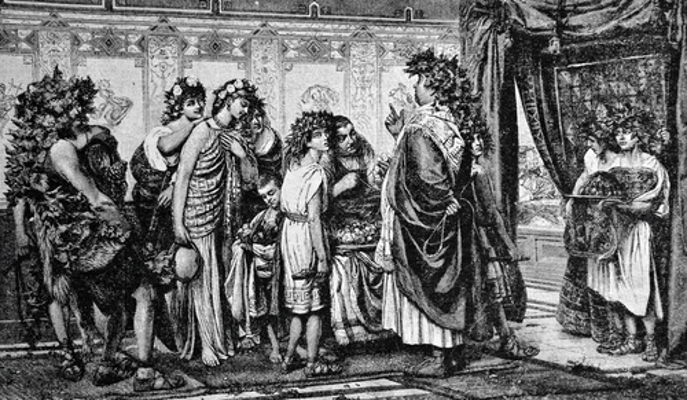 Um patrício e seus escravos na antiga sociedade romana