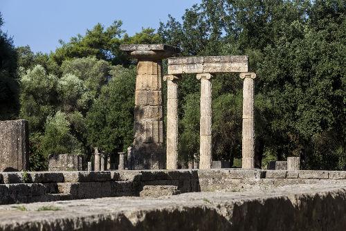Ruínas da cidade de Olímpia, na Grécia, onde eram realizados os antigos jogos esportivos