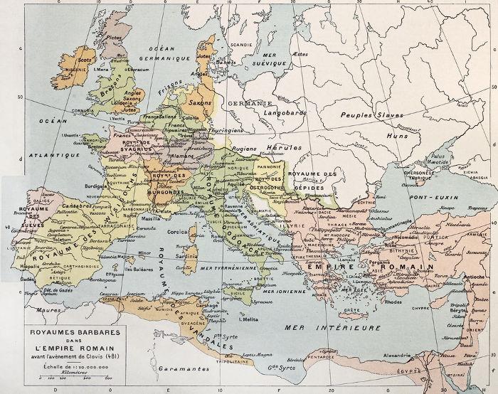 Mapa que mostra o estabelecimento dos reinos germânicos após a desagregação do Império Romano em 476 d.C