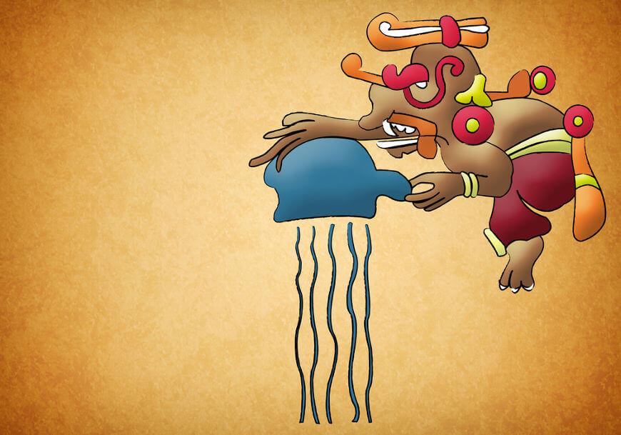 Representação moderna de Chac, deus da chuva para os maias, e uma provável manifestação de Itzamná.