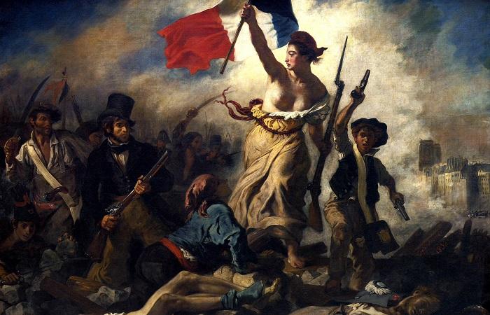 """""""A liberdade guiando o povo"""", pintura de Eugène Delacroix"""