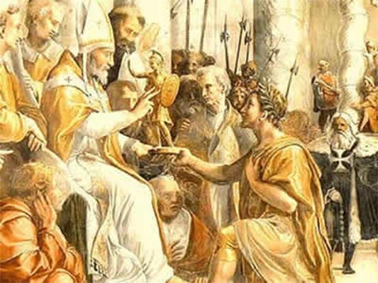 """A suposta """"Doação de Constantino"""" (imagem) foi revisada pelo estudo de Lorenzo Valla, no século XV"""