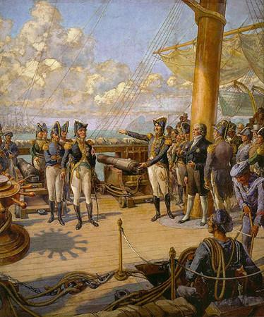 Acima, imagem de D. Pedro ordenando a um oficial português que voltasse para Portugal