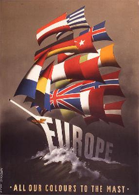 Cartaz do Plano Marshall feito pela Administração de Cooperação Econômica, simbolizando o avanço dos países europeus