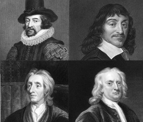 Da esquerda para à direita, os pensadores precursores do iluminismo: René Descartes, Francis Bacon, John Locke e Isaac Newton
