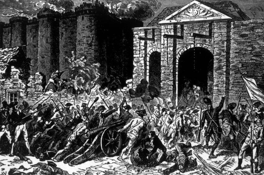 Em 14 de julho de 1789, a população parisiense rebelada atacou a Bastilha, antiga prisão e símbolo do absolutismo francês.