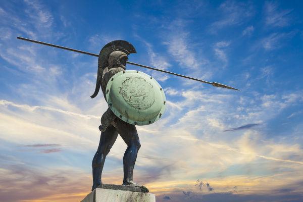 Estátua de Rei Leônidas, grande líder do exército espartano, em Termópilas, na Grécia.