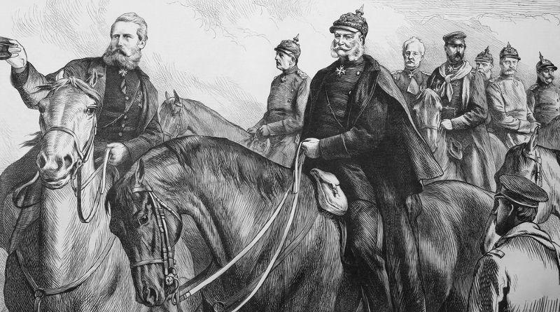 Ilustração britânica do século XIX retrata Otto von Bismarck e seus generais durante a Guerra Franco-Prussiana