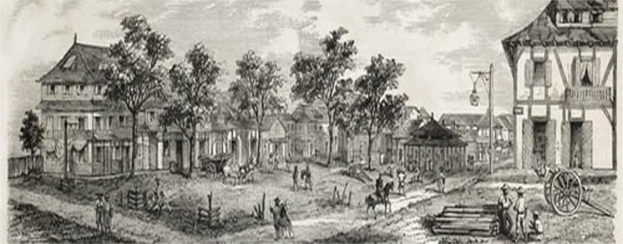 Ilustração de Caiena, a primeira cidade da Guiana Francesa