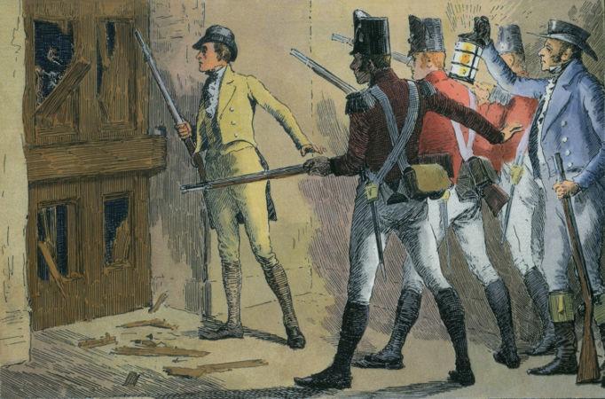 Ilustração mostra o dono de uma fábrica e tropas inglesas defendendo as máquinas de um ataque de ludistas