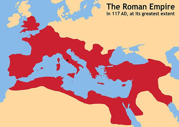 No mapa: O Império Romano em 117 d.C., em sua máxima expansão