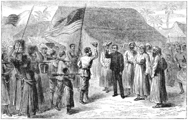 O encontro entre o jornalista Henry M. Stanley e o explorador inglês David Livingstone, na época do Imperialismo, tornou-se famoso
