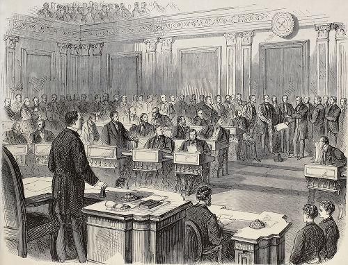 O presidente americano Andrew Johnson sofreu um processo de impeachment em 1868