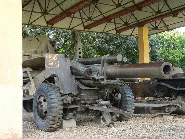 Peça de artilharia utilizada durante a Batalha de Bien Dien Phu, ocorrida na Guerra da Indochina