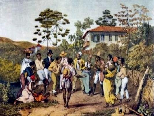 Pintura de J. Mortiz Rugendas registra o batuque de negros no Brasil do século XIX*