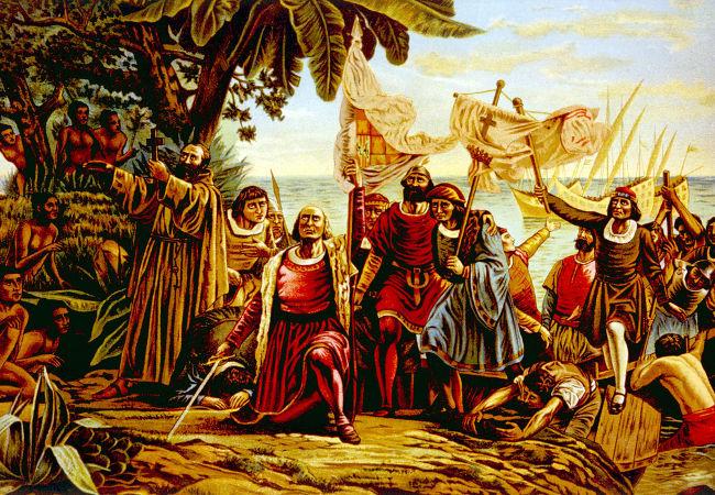 Quadro de 1892 retrata a chegada dos espanhóis na América, em 1492