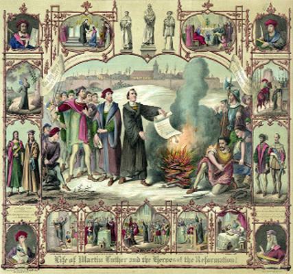 Quadro retratando Lutero queimando sua excomunhão, tendo Wyclif no canto inferior esquerdo e Hus acima, junto a Savonarola.*