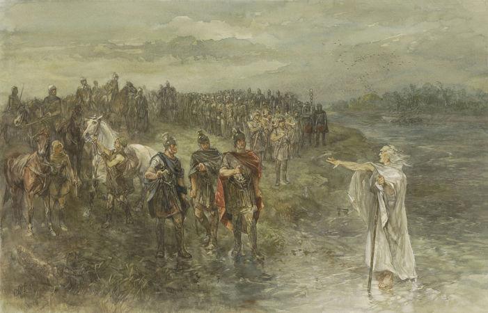 Quadro do século XIX retratando os exércitos romanos liderados por Nero Cláudio Druso para batalha contra tropas germânicas durante o século I a.C