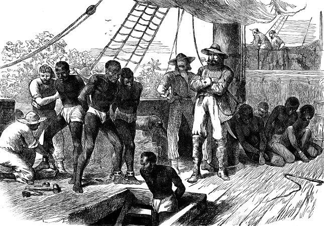 Representação da forma como os africanos escravizados eram trazidos ao Brasil nos navios negreiros