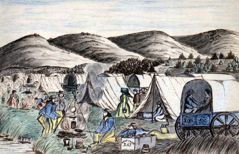 Representações de cidadãos americanos que se dirigiam para o oeste nas diligências à procura de terras para se estabelecer.