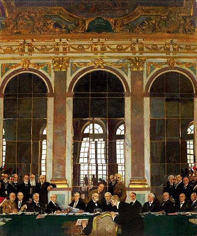 Representantes das nações vencedoras da Primeira Guerra Mundial assinando o Tratado de Versalhes *