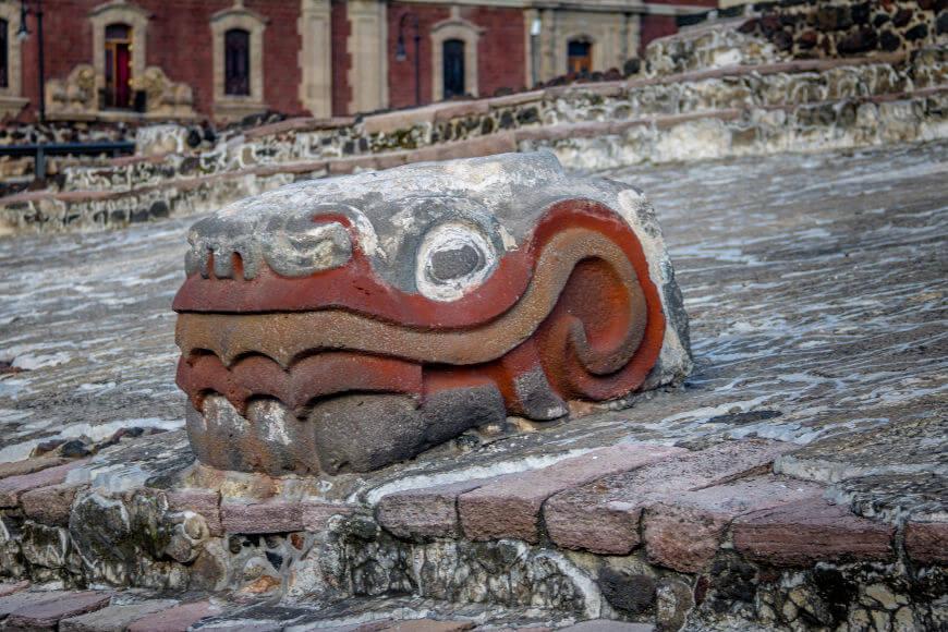 Ruínas de um templo asteca localizado em Tenochtitlán, antiga capital asteca.
